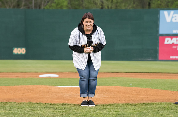 05/03/19 Wesley Bunnell | Staff The New Britain Bees home opener vs the Somerset Patriots on Friday night at New Britain Stadium. New Britain Mayor Erin Stewart is ready to throw out her ceremonial first pitch.