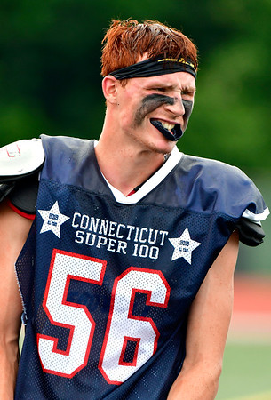6/29/2019 Mike Orazzi | Staff Constitution All-Star Sam Lestini (56) of Plainville High School during Saturday's Super 100 football game at Veterans Stadium in New Britain.