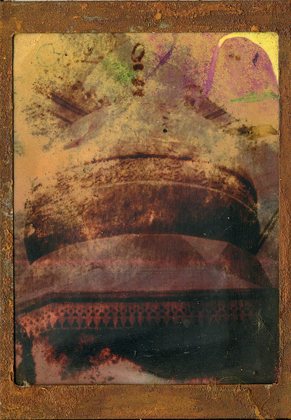 Dome, encaustic on altered photo, 5x7