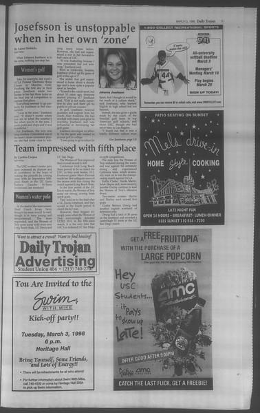 Daily Trojan, Vol. 133, No. 35, March 03, 1998