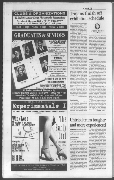 Daily Trojan, Vol. 144, No. 53, November 13, 2001