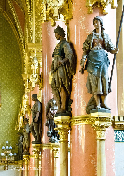 Hungarian Parliament in Budapest:  Statues of common working folks