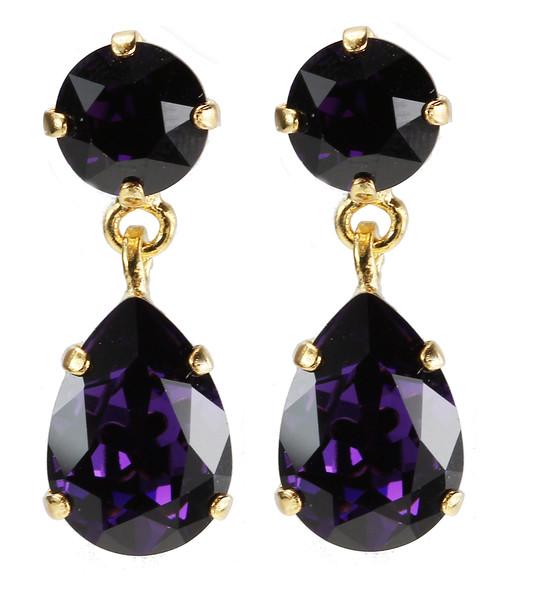Mini Drop Earrings / Purple Velvet