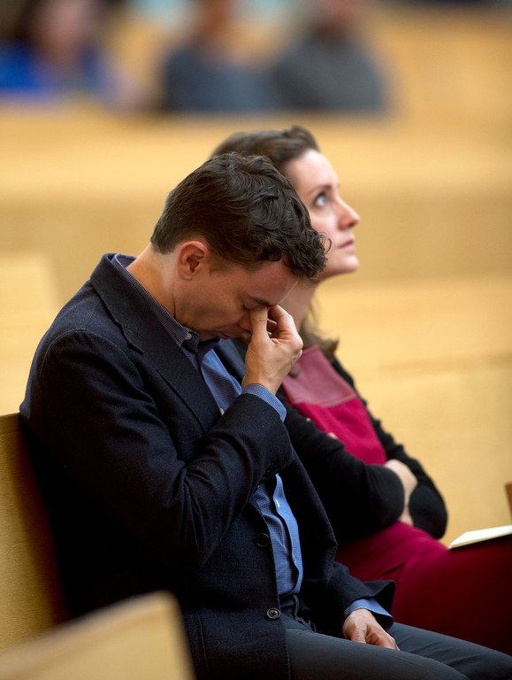 . Unidentified mourners attend a memorial Mass for the six people killed Tueday in a balcony collapse in Berkeley, on Wednesday, June 17, 2015, at the Cathedral of Christ the Light in Oakland, Calif. (D. Ross Cameron/Bay Area News Group)