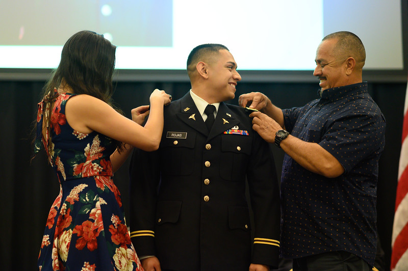 Edgar De La Garza / Texas A&M University-Corpus Christi MARCOM  The Islander Army ROTC at Texas A&M University-Corpus Christi celebrates the commissioning of new second lieutenants. Cadets Vincent Lising, who is graduating with a Bachelor of Science in Health Sciences, and Zachary Rojas, who is graduating with a Bachelor of Science in Nursing.