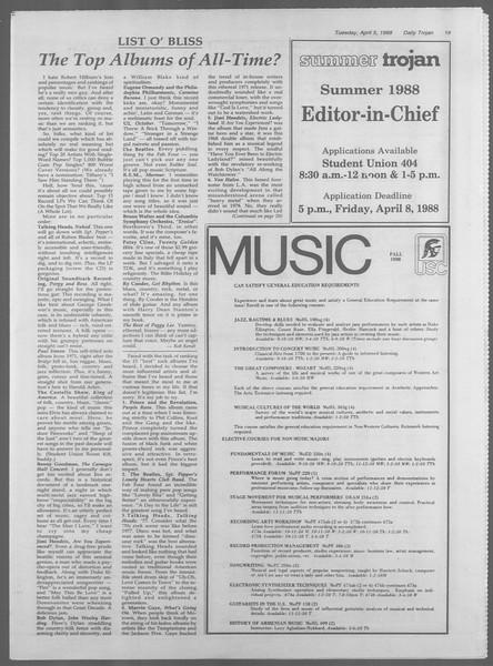 Daily Trojan, Vol. 106, No. 53, April 05, 1988