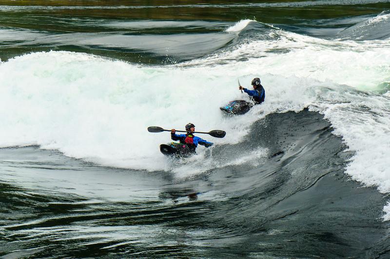 Dave Fusilli and Craig Kleckner partying it up at Skookumchuck Narrows, British Columbia.