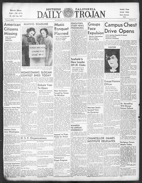 Daily Trojan, Vol. 29, No. 36, November 08, 1937