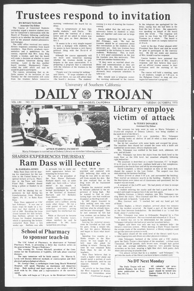 Daily Trojan, Vol. 62, No. 11, October 06, 1970