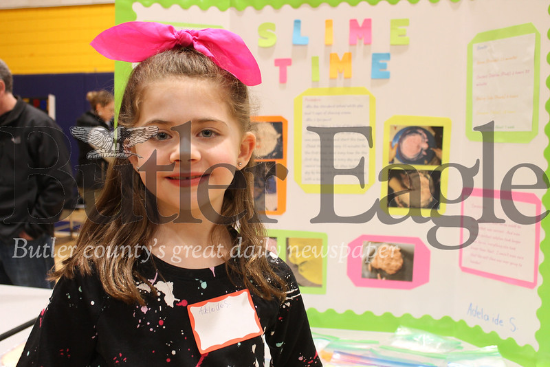 """Mars Area second grader Adelaide Smaretsky entered Wednesday night's elementary science fair with a project called ""Slime Time,"" for which she tested the times it took for different slime recipes to dry.""Photo by Samantha Beal."