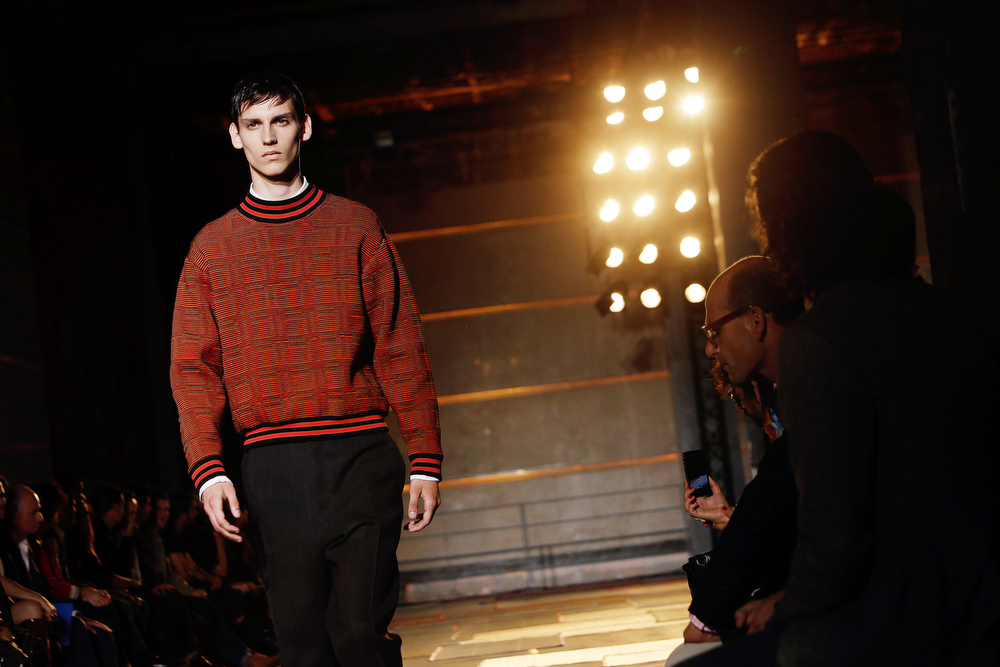 . A model wears a creation by Aldo Maria Camillo for Cerruti men\'s Spring-Summer 2015 fashion collection, presented in Paris, Friday, June 27, 2014. (AP Photo/Thibault Camus)