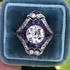 2.27ct (est) Art Deco Old European Cut Diamond with Amethyst Halo Ring 34