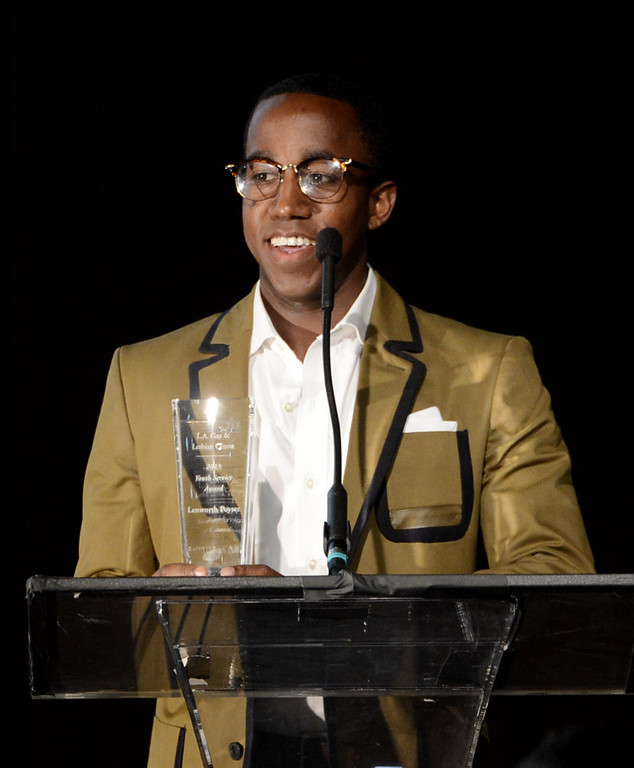 ". Honoree Lenworth Poyser speaks at ""An Evening\"" benifiting The Gay & Lesbian Center at the Beverly Wilshire Hotel on March 21, 2013 in Beverly Hills, California.  (Photo by Kevin Winter/Getty Images)"