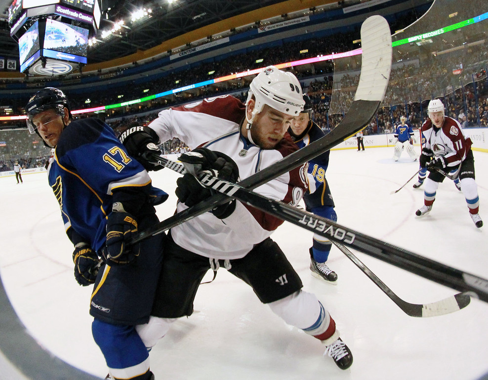 . St. Louis Blues left wing Vladimir Sobotka, left, jockeys for position against Colorado Avalanche center Ryan O\'Reilly during the second period of an NHL hockey game, Thursday, Nov. 14, 2013, in St. Louis. (AP Photo/St. Louis Post-Dispatch, Chris Lee)