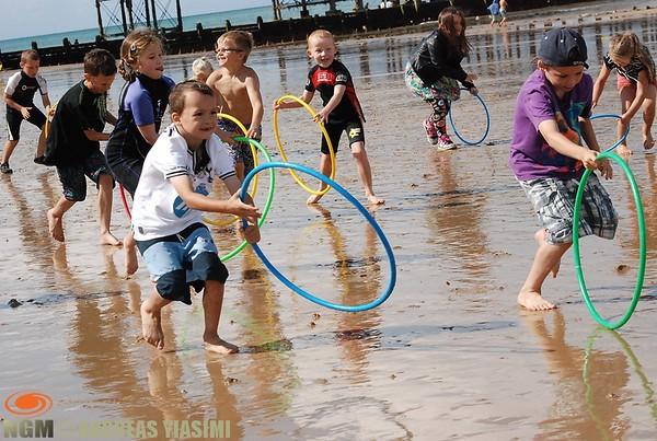 Beach sports and treasure hunt