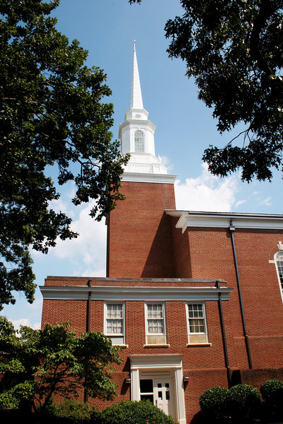 Side view of Dover Memorial Chapel at Gardner-Webb University on a beautiful fall day.