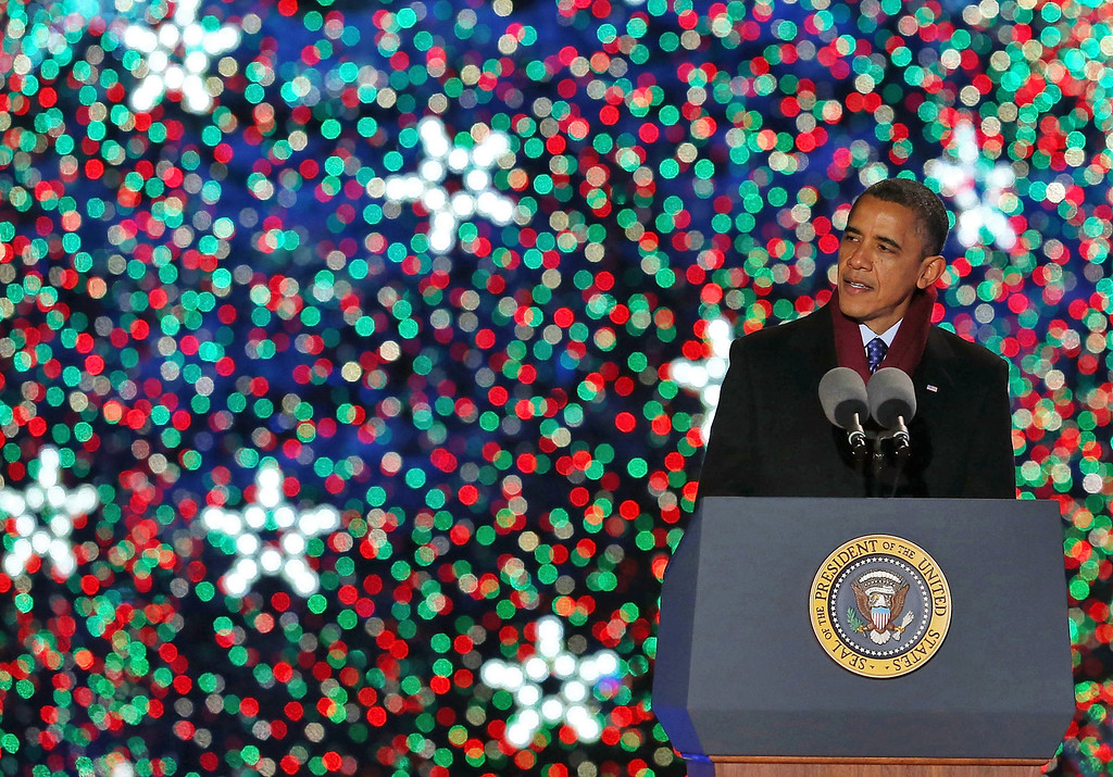 . WASHINGTON, DC - DECEMBER 06:  U.S. President Barack Obama speaks after lighting of the National Christmas tree on December 6, 2012 in Washington, D.C. This year is the 90th annual National Christmas Tree Lighting Ceremony.  (Photo by Mark Wilson/Getty Images)