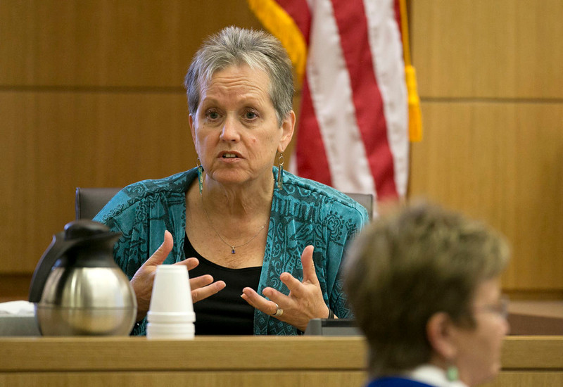 . Alyce LaViolette,  a domestic violence expert, responds to a question during redirect from the defense during the Jodi Arias trial at Maricopa County Superior Court in Phoenix on Thursday, April 11, 2013.  Arias is on trial for the killing of her boyfriend, Travis Alexander, in 2008.  Arias faces a possible death sentence if convicted of first-degree murder.  (AP Photo/The Arizona Republic, David Wallace, Pool)