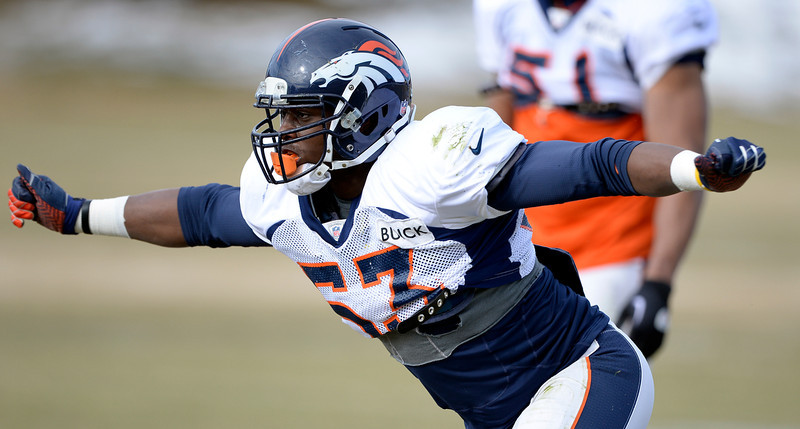 . Denver Broncos linebacker Steven Johnson (53) runs through drills during practice January 15, 2014 at Dove Valley. The Broncos are preparing for their game against the New England Patriots in the AFC championship game. (Photo by John Leyba/The Denver Post)