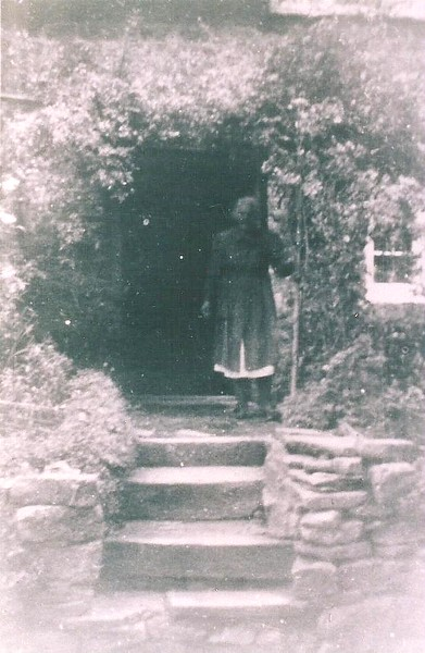 Mrs Hutchins in her garden 1940`s