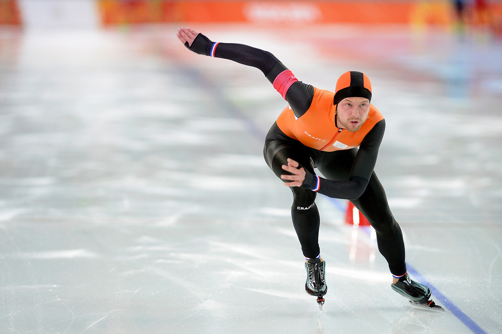 . Gold medalist Michel Mulder finish his second race during the speed skating men\'s 500-meter at Adler Arena. Sochi 2014 Winter Olympics on Monday, February 10, 2014. (Photo by AAron Ontiveroz/The Denver Post)
