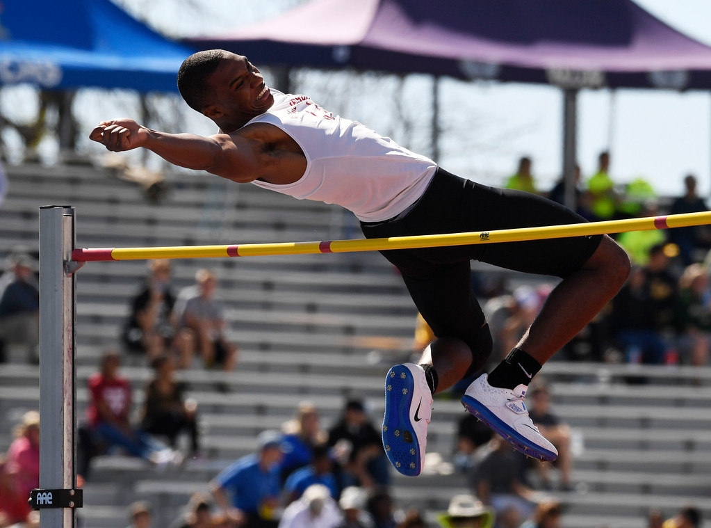 . LAKEWOOD, CO - May 19: Austin Campbell, Regis Jesuit, clears the bar and eventually wins the boys 5A high jump competition at the Colorado State High School Track and Field Championships at Jeffco Stadium May 19, 2016. (Photo by Andy Cross/The Denver Post)