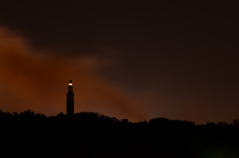 The Carillon with the smoke from the fireworks behind it.