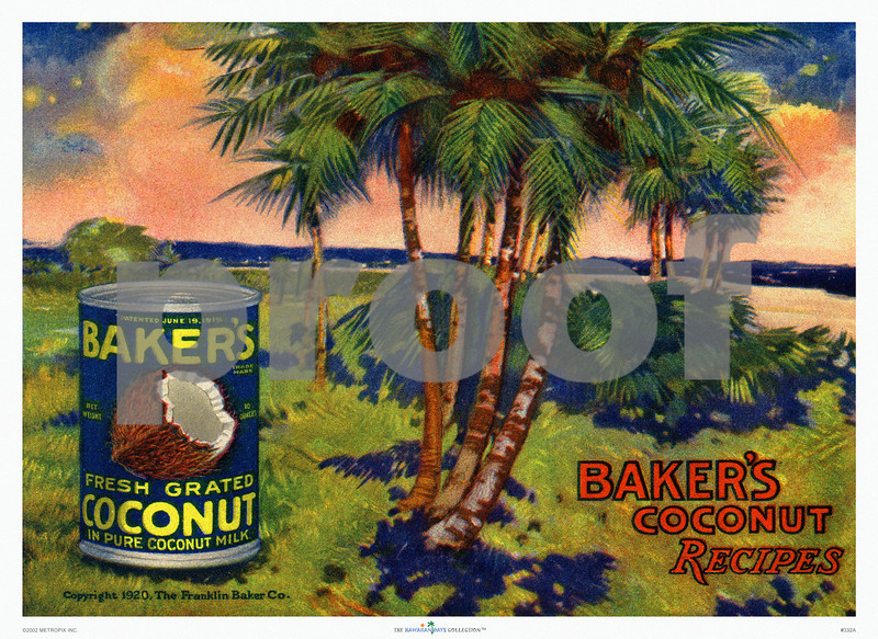 332: 'Baker's Coconut' Advertisement. Ca. 1920. (PROOF watermark will not appear on your print)