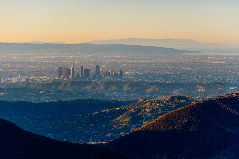 Los Angeles skyline at dawn, January 2019