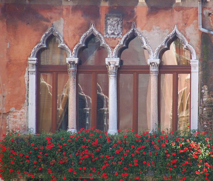 Red Flowered Moorish Window---Venice, Italy