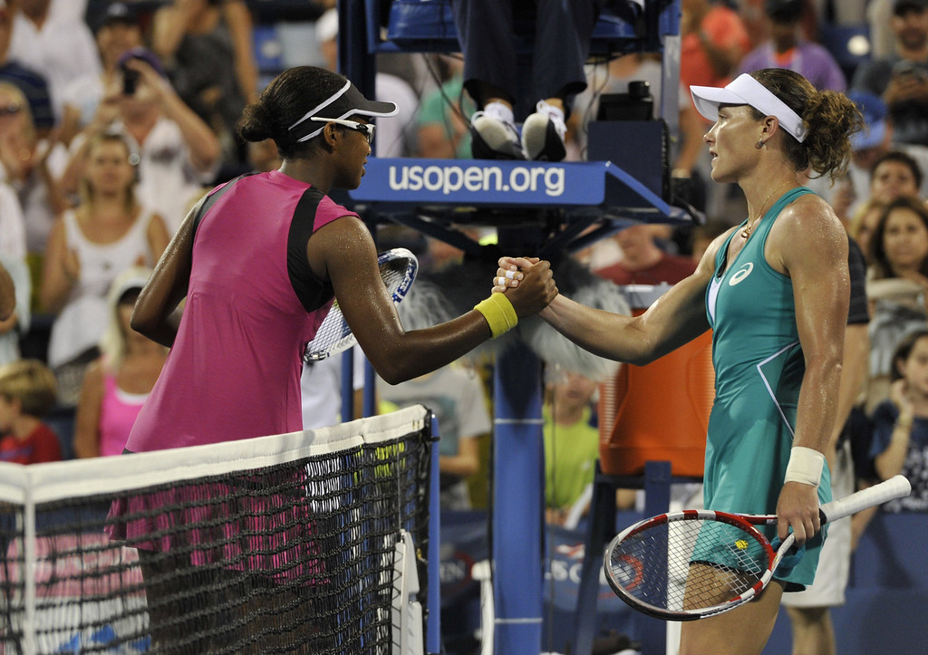 . Victoria Duval (L) of the US greets Samantha Stosur (R) of Australia following Duval\'s victory in their 2013 US Open women\'s singles match at the USTA Billie Jean King National Tennis Center in New York on August 27 , 2013. TIMOTHY CLARY/AFP/Getty Images