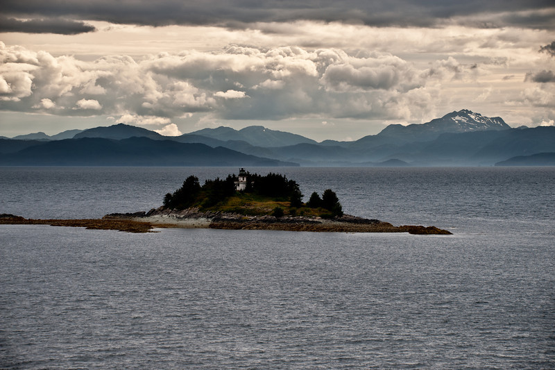Lighthouse on an island in the channel.
