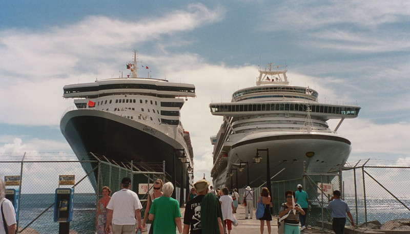 The Queen Mary along side another ship which was also in port at St. Kitts - the Emerald Princess.