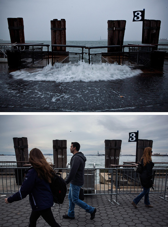 . NEW YORK, NY - OCTOBER 23: (top)  Rising water caused by Superstorm Sandy rushes onto the pathway at Battery Park on October 29, 2012 in New York City.   NEW YORK, NY - OCTOBER 23: (bottom)  Tourists walk along the pathway in Battery Park October 23, 2013 in New York City.  Hurricane Sandy made landfall on October 29, 2012 near Brigantine, New Jersey and affected 24 states from Florida to Maine and cost the country an estimated $65 billion.  (Photos by Andrew Burton/Getty Images)