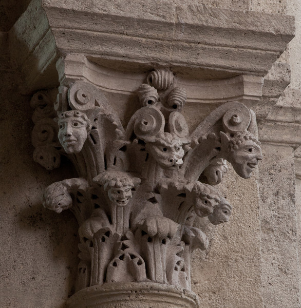 Saulieu Abbey of Saint-Androche Capital with Flowering Heads
