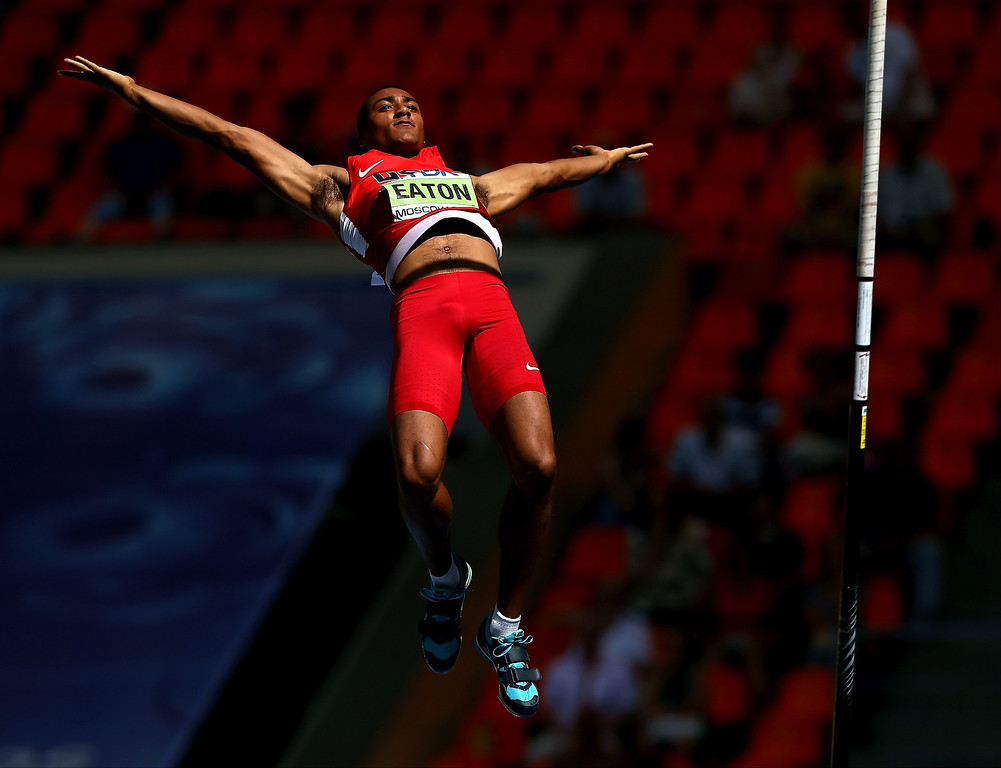 . Ashton Eaton of the United States competes in the Men\'s Decathlon Pole Vault during Day Two of the 14th IAAF World Athletics Championships Moscow 2013 at Luzhniki Stadium on August 11, 2013 in Moscow, Russia.  (Photo by Cameron Spencer/Getty Images)