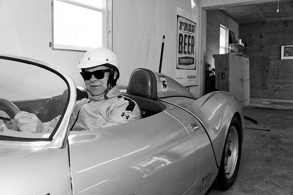 Dennis H in Racing Gear in his 1955 RS 550 Porsche Spyder
