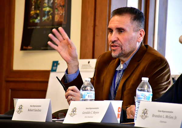 5/4/2019 Mike Orazzi   Staff State Rep. Bobby Sanchez during The legislative Black and Puerto Rican Caucus' town hall meeting Saturday held at the Human Resources Agency of New Britain.