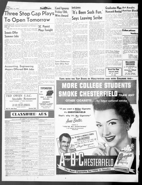 Daily Trojan, Vol. 40, No. 140, May 16, 1949