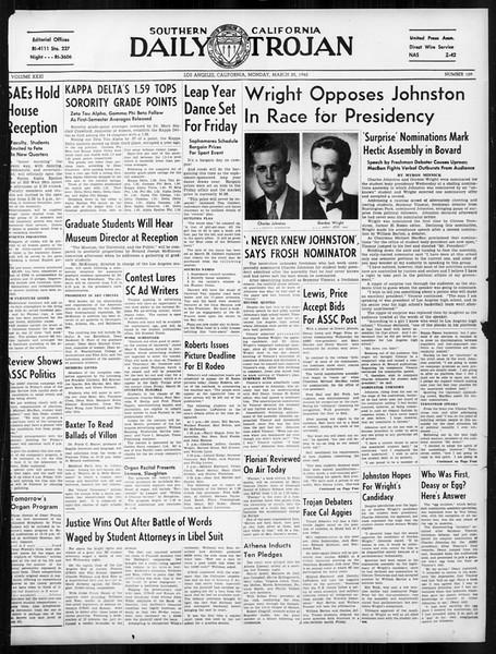 Daily Trojan, Vol. 31, No. 109, March 25, 1940