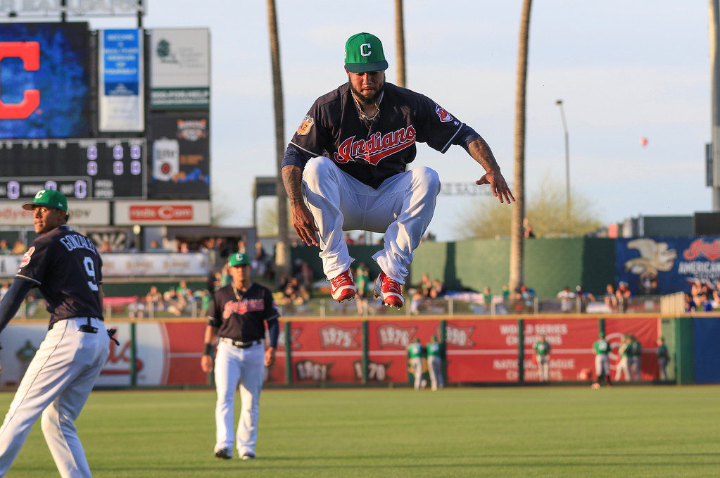 . Tim Phillis - The News-Herald Scenes from the Indians\' spring training game against the Reds on March 17 in Goodyear, Ariz.