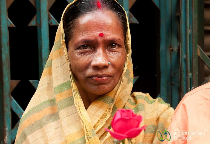 Woman Posing with Red Rose - Old Dhaka, Bangladesh