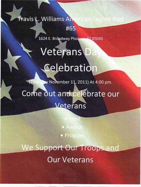 ARIZONA BUFFALO SOLDIERS, MESA, AZ...Veterans' Day at Travis L. Williams American Legion Post#65, Phoenix, AZ.  Invite from Cmdr Dennis Prince:Buffalo Soldiers of the Arizona Territory.  November 11, 2010