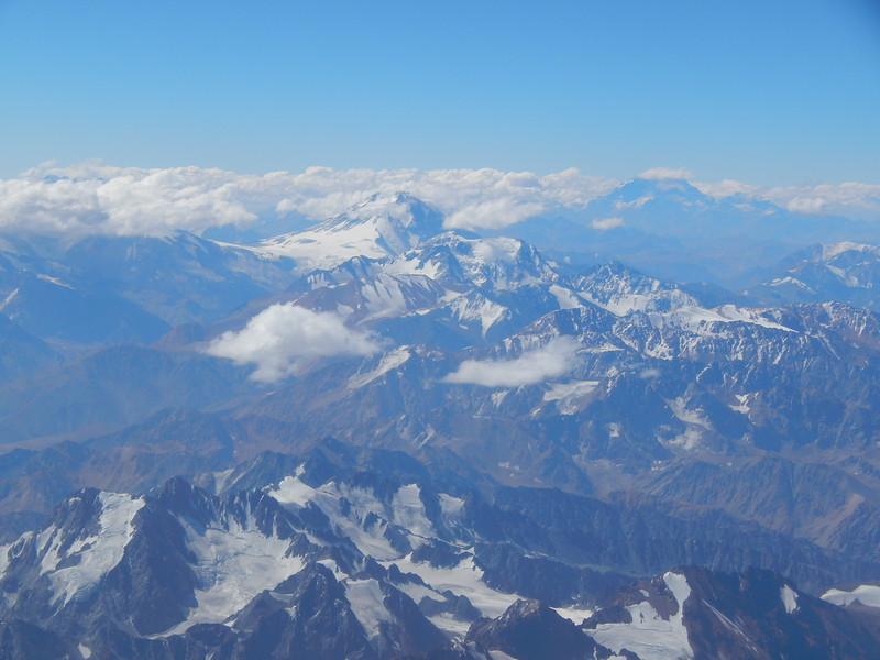 View of Aconcagua during flight from Santiago to Mendoza