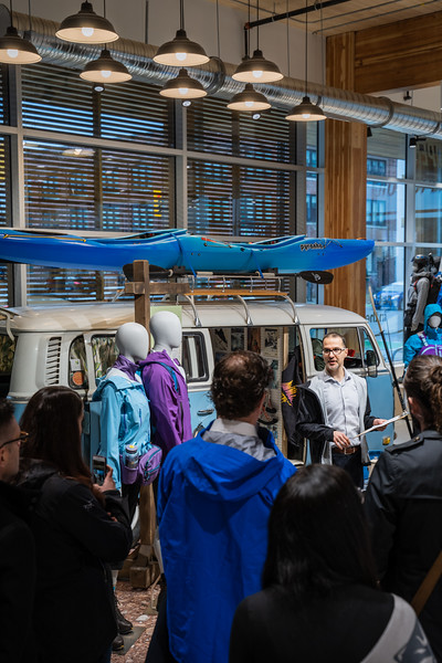 Mountain Equipment Co-op gives a tour to their partners, ambassadors and members of the new Flagship store in Vancouver B.C.