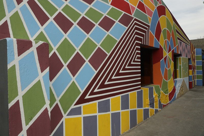 A different terrain - modern art on the wall of El Calafate.