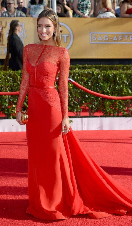 . Renee Bargh arrives at the 20th Annual Screen Actors Guild Awards  at the Shrine Auditorium in Los Angeles, California on Saturday January 18, 2014 (Photo by Michael Owen Baker / Los Angeles Daily News)