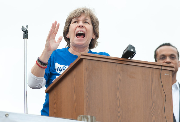 11/02/18 Wesley Bunnell | Staff The American Federation of Teachers held a get out the vote rally on Friday afternoon outside of a union headquarters in New Britain featuring hundreds of educators and workers from across CT. AFT President Randi Weingarten addresses the crowd.