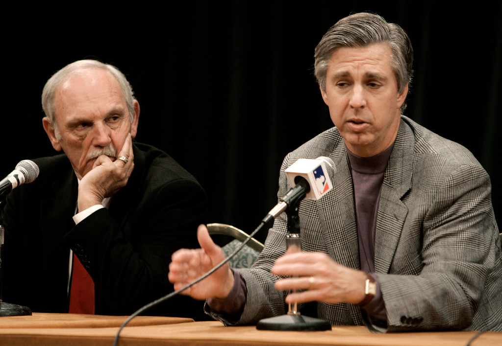 . Dave Dombrowski, right, president of the Detroit Tigers, speaks during a news conference to announce a trade between the Tigers and the Florida Marlins at the Major League Baseball winter meetings in Nashville, Tenn., Wednesday,  Dec. 5, 2007. The trade is an eight-player swap that sends All-Stars Miguel Cabrera and Dontrelle Willis from Florida to Detroit. At left is Tigers manager Jim Leyland. (AP Photo/Mark Humphrey)