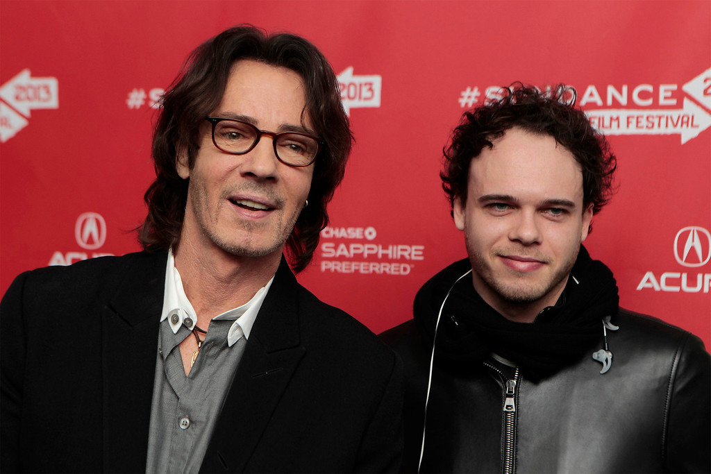 ". Musician Rick Springfield and his son Liam arrive for the premiere of the documentary ""Sound City\"" at the Sundance Film Festival in Park City, Utah, January 18, 2013. REUTERS/Lucas Jackson"